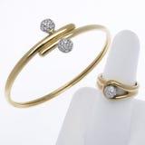 Or et bracelet et boucle de diamant Images stock