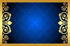 Or et cadre floral bleu Photographie stock libre de droits