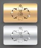 Or et cartes argentées de VIP Photographie stock libre de droits