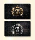 Or et cartes argentées de VIP avec les éléments et la couronne de conception florale Photo stock