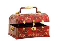 Or et coffre de trésor rouge Photo stock
