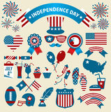 Et of color independence day. Vector icons. Stock Vector Illustration Royalty Free Stock Images