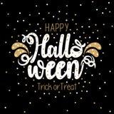 Or et conception noire de vecteur de la typographie heureuse de Halloween illustration stock