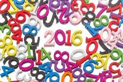 2016 et d'autres chiffres en bois Image stock