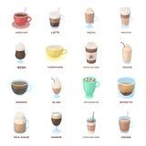 Et d'autres variétés de café Les différents genres d'icônes de collection d'ensemble de café dans le style de bande dessinée diri Photographie stock