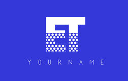 ET E T Dotted Letter Logo Design with Blue Background. Royalty Free Stock Photography