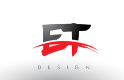 ET E T muśnięcia loga listy z Czerwonym i Czarnym Swoosh muśnięcia przodem Obrazy Royalty Free