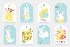 Funny animals alphabet for kids v to z stock vector et of easter gift tags and labels with cute cartoon characters and type design stock photo negle Gallery