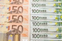50 et 100 euro factures Photo libre de droits