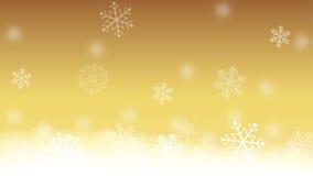 Or et fond blanc de flocon de neige Image libre de droits