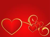 Or et fond rouge d'amour Photos stock