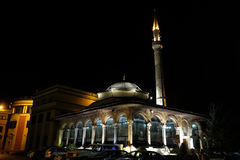 The Et`hem Bey Mosque at night on Skanderbeg Square, Tirana. Albania royalty free stock photography