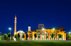 The Et`hem Bey Mosque in Skanderbeg Square, Tirana - Albania. The Et`hem Bey Mosque in Skanderbeg Square, at night, Tirana - Albania royalty free stock photography