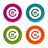 25, 30, 35 et 40 ic?nes de rotation de minutes Symboles de minuterie Bouton color? de Web avec l'ic?ne images libres de droits