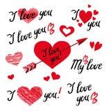 Et je t'aime du lettrage et des éléments de main avec les ornements, les coeurs et la flèche décoratifs illustration stock