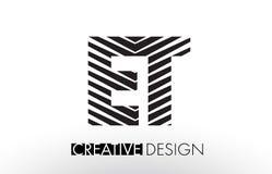 ET la E T allinea la progettazione di lettera con la zebra elegante creativa Fotografie Stock Libere da Diritti