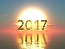 2017 et lever de soleil Photo stock