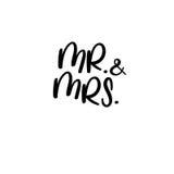 et Mme manuscrit Calligraphie pour des cartes de voeux, invitations de mariage Photo stock
