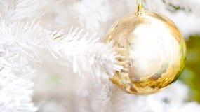 Or et Noël blanc de fond d'éléments Images stock