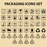 Et of packaging icons, packing cargo labels, delivery service symbols. For boxes, shipping symbols royalty free illustration