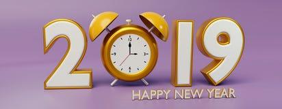 2019 et rendu de l'horloge 3d Image libre de droits