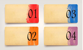Et of retro cardboard paper banners with color rib Royalty Free Stock Image