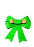 Or et ruban vert d'isolement sur le blanc, chemin de coupure Images stock