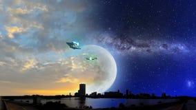 ET samolot i UFO z Milky sposobu galaxy zmierzchem i nocą ilustracja wektor