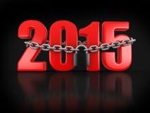 2015 et serrure (chemin de coupure inclus) Images libres de droits