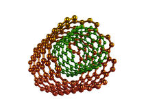 Or et structures moléculaires de vert sur le blanc Photos libres de droits