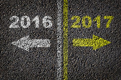 2016 et 2017 sur la route Photo libre de droits