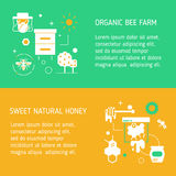 Et of two flyers for honey farm. Harvesting and gathering honey. Modern linear style in bright attractive colors. Stock Images