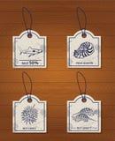 Et of 4 vintage design elements seafood: shark Royalty Free Stock Images