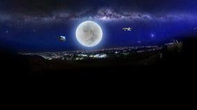 ET vliegtuigen en UFO over jeddahstad bij nacht stock illustratie