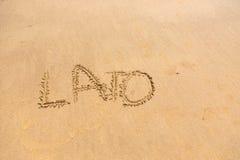 et x27 ; Lato& x27 ; mot écrit sur le sable Photo stock