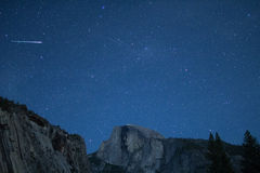 Eta Aquariids fireball and twin meteors over Half Dome Royalty Free Stock Photography