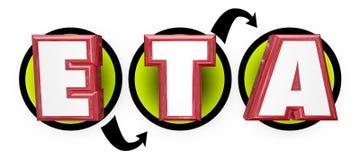 ETA Estimated Time da chegada rotula o diagrama dos trabalhos da programação Foto de Stock