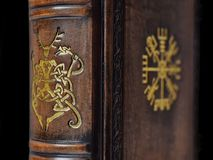 etail of the book with ancient Viking symbols The Vegvisir and The Cernunnos gilded to the brown book stock photo