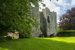Etal Castle. Northumberland, England, with canon in front of the portcullis gate Stock Photos