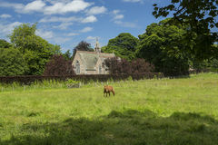 Etal Church, Etal, Northumberland. Church of St Mary the Virgin, Etal, Berwick upon Tweed, Northumberland with a field and a horse in the foreground Stock Images