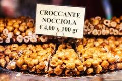3 05 2017 - Etalage van een dessertwinkel in Venetië, Italië Royalty-vrije Stock Afbeeldingen