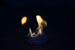 Etanolu ogień w szklanym lab talerzu Obraz Royalty Free