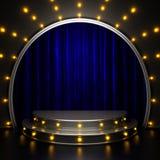 Etapa azul de la cortina con las luces Imágenes de archivo libres de regalías