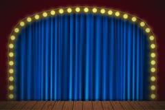Etapa con la cortina azul stock de ilustración