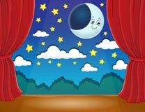 Etapa con la luna feliz Fotografía de archivo