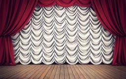 Etapa con las cortinas rojas y blancas representación 3d ilustración del vector