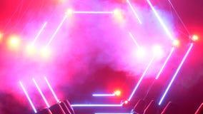 Etapa con las luces del humo y del punto Concepto de la presentación Podio moderno o una etapa con las luces y el humo almacen de metraje de vídeo