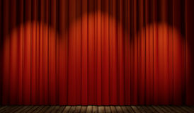etapa 3d con la cortina roja y el piso de madera Fotografía de archivo