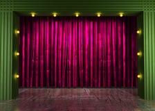 Etapa de la cortina del Res con las luces de neón stock de ilustración