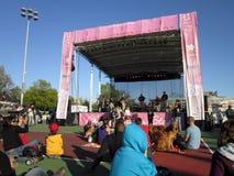 Etapa de la música en el festival del flor de cereza Imágenes de archivo libres de regalías